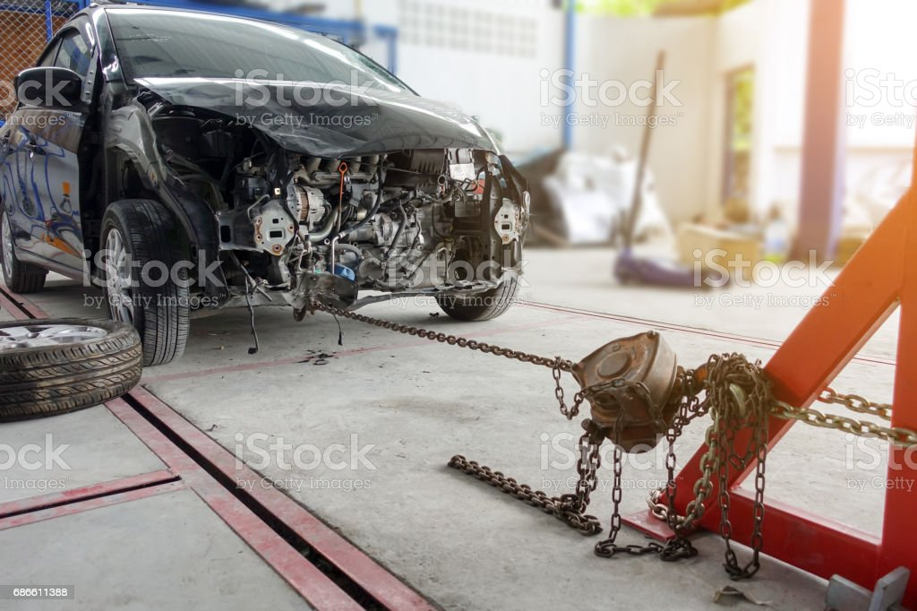 Auto repair on front royalty-free stock photo