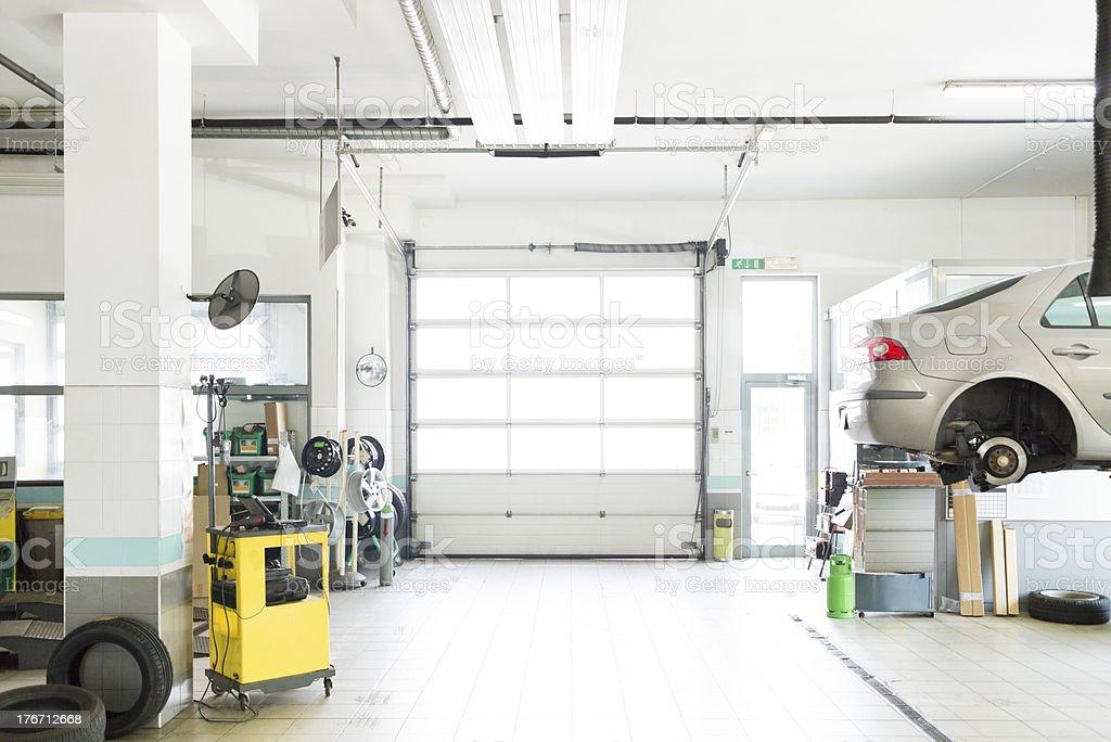 Auto repair shop, car garage,