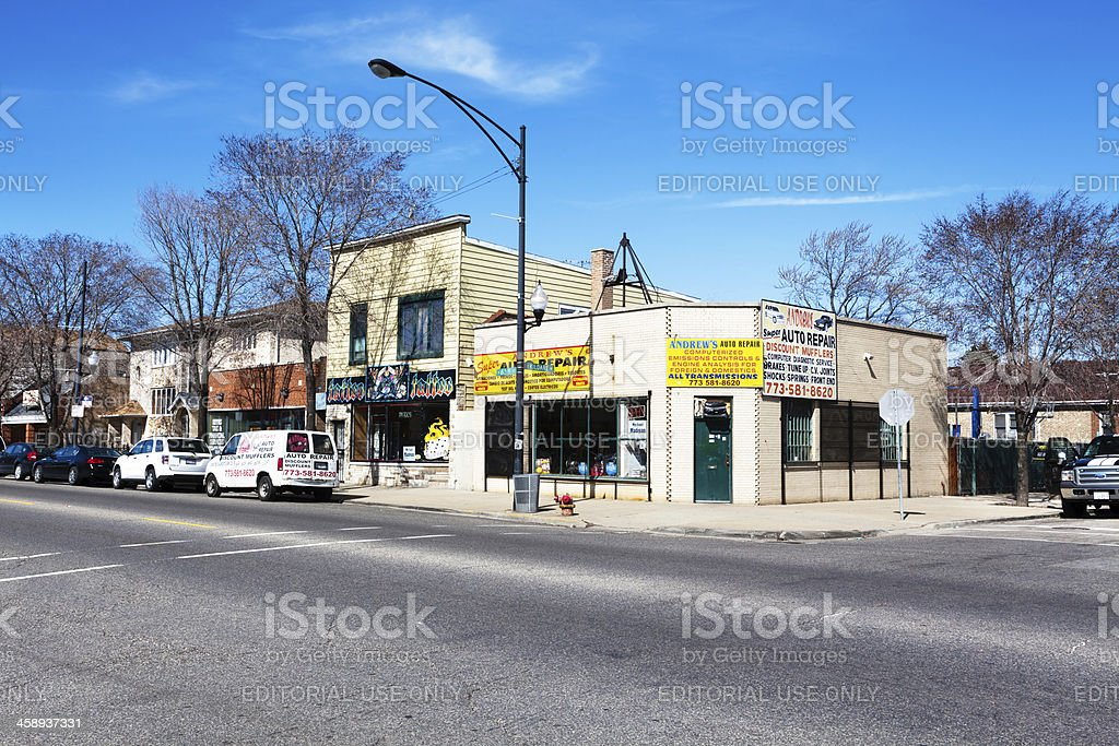 Auto Repair Shop in West Lawn, Chicago royalty-free stock photo