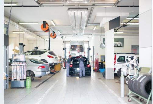 Auto repair shop with car serviced.