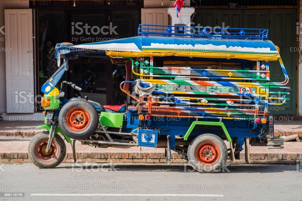 Auto rickshaw in Luang Prabang stock photo