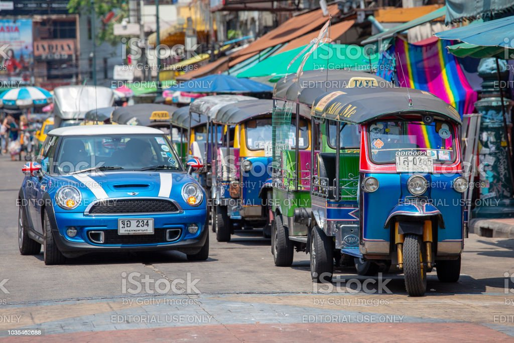 Auto rickshaw or tuk-tuk on the Khao san road street of Bangkok. Thailand stock photo