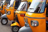 istock auto rickshaw  stand in Tamil Nadu 539107092