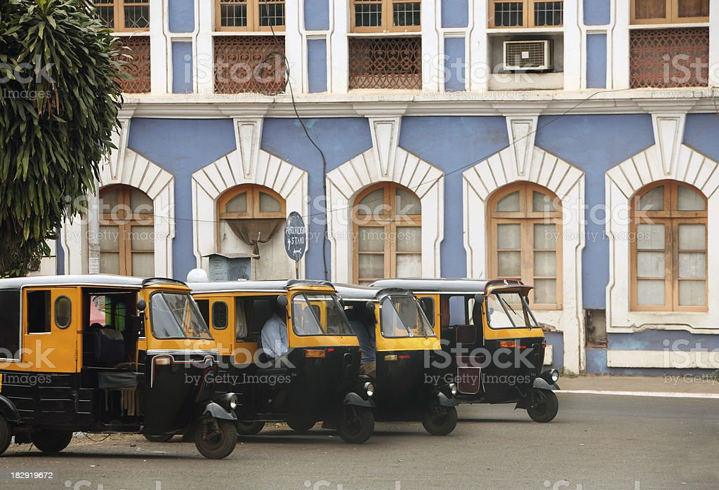 Auto Rickshaws and Old Panjim Architecture stock photo