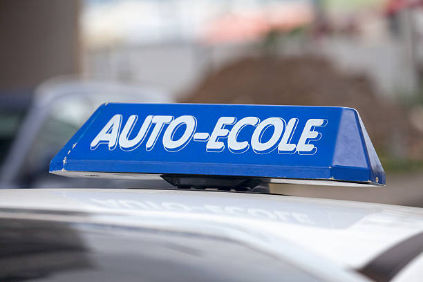 Auto Ecole Close up on a blue  ecole stock pictures, royalty-free photos & images