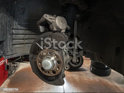 522394158 istock photo Auto service -replacement of brakes, disks and pads 1060880734