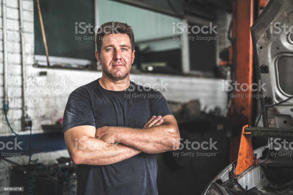 Auto Service Worker/Owner stock photo