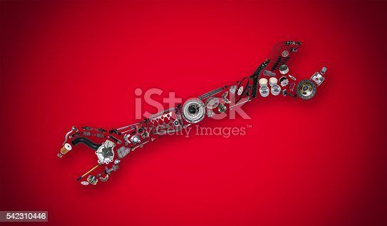1155772265 istock photo Auto spare parts items in wrench 542310446