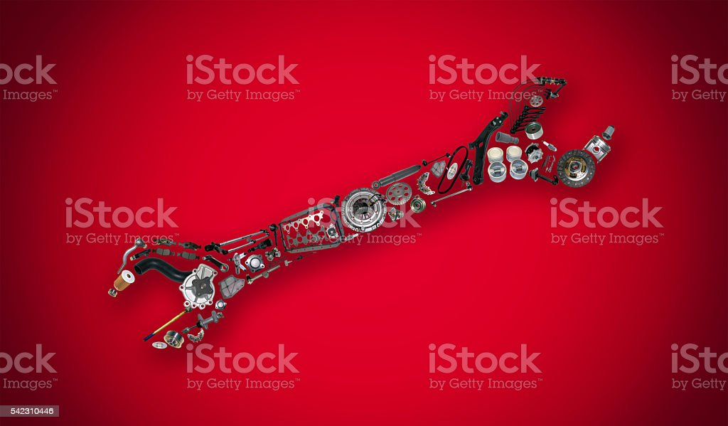 Auto spare parts items in wrench stock photo