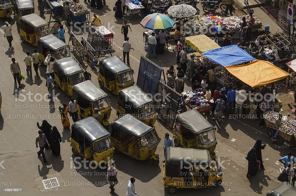 Auto Taxis from above, Hyderabad royalty-free stock photo