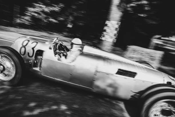 Auto Union Grand Prix Rennwagen Type C V16 race car in black and white stock photo