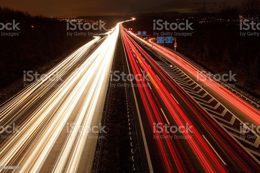 Autobahn A8 Wendlingen bei Nacht stock photo