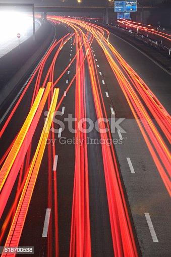 539234032 istock photo Autobahn at night 518700538