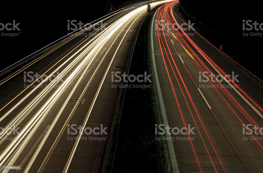 Autobahn in Germany at night royalty-free stock photo