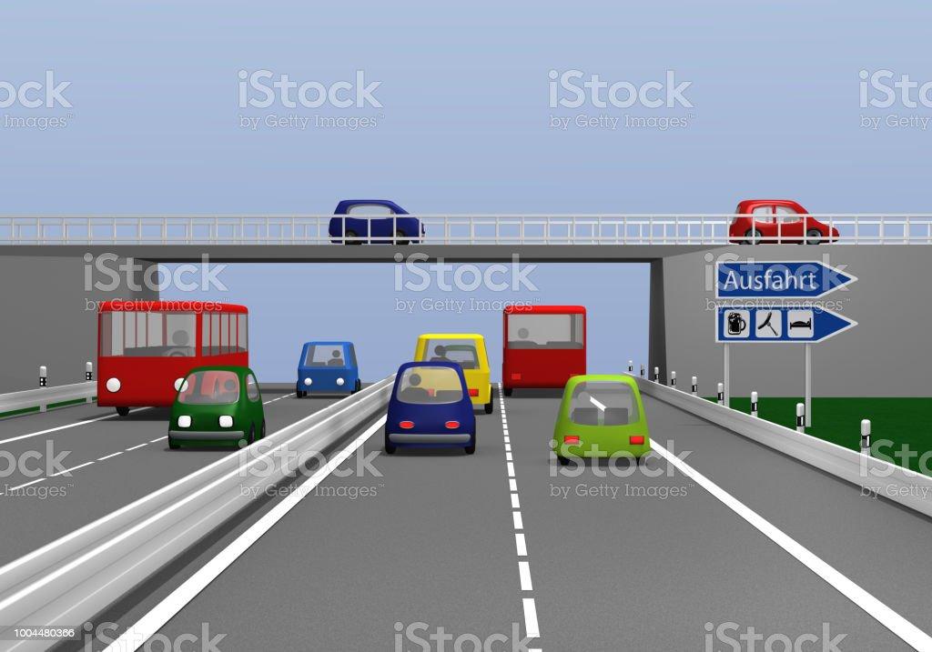 Autobahn Mit Bunton Autos Und Ausfahrt Schild Stock Fotografie Und