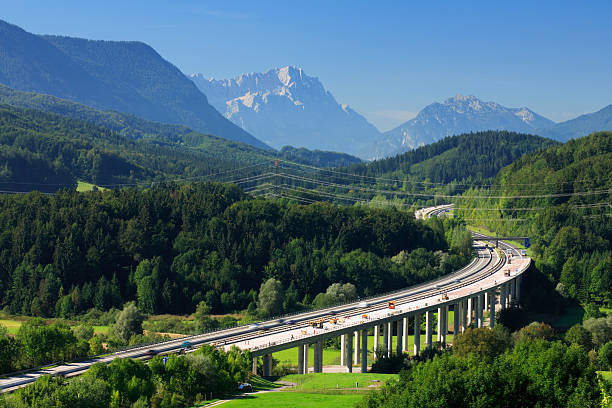 Autobahn through the Bavarian Alps stock photo