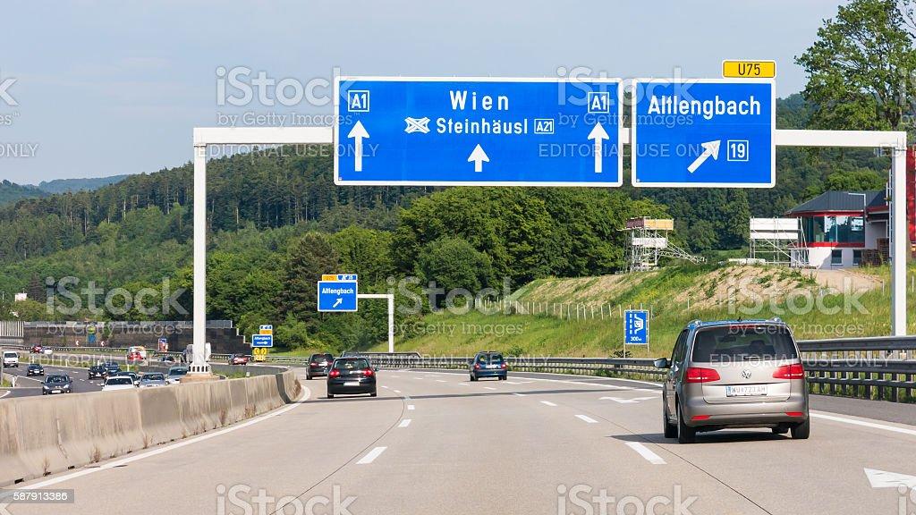 Autobahn with traffic in Vienna woods, Austria stock photo