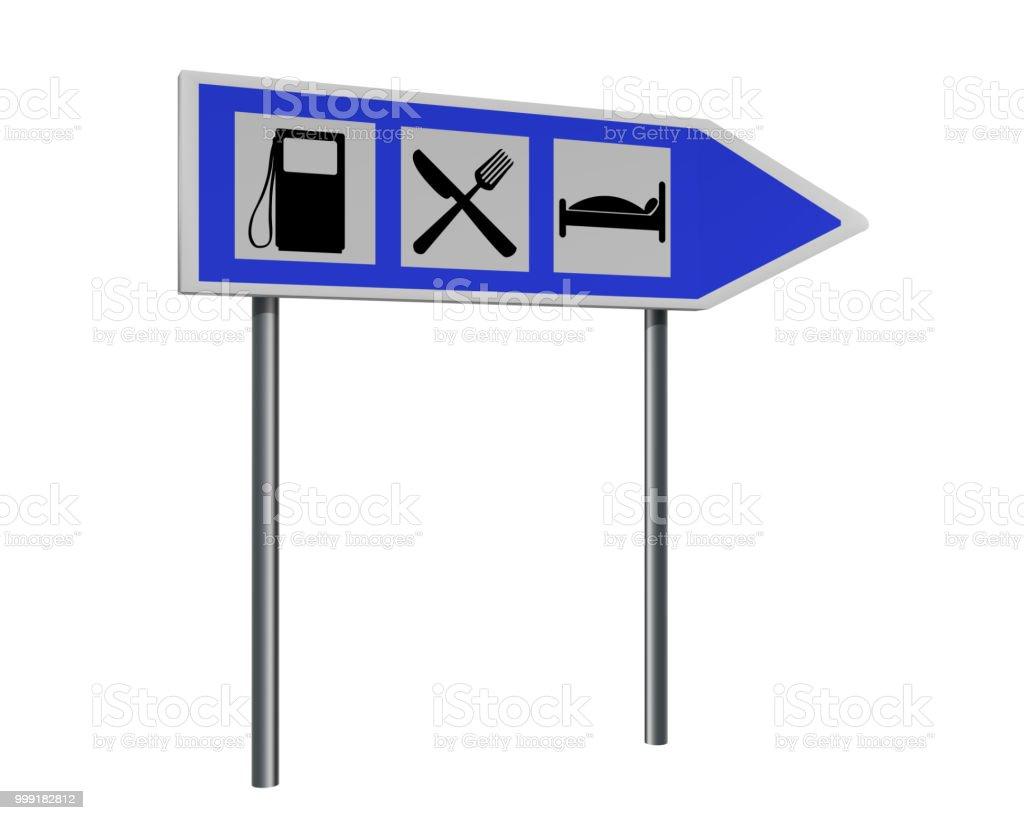 Autobahnschild Mit Hinweisen Für Tankstelle, Gasthaus Und Hotel. – Foto