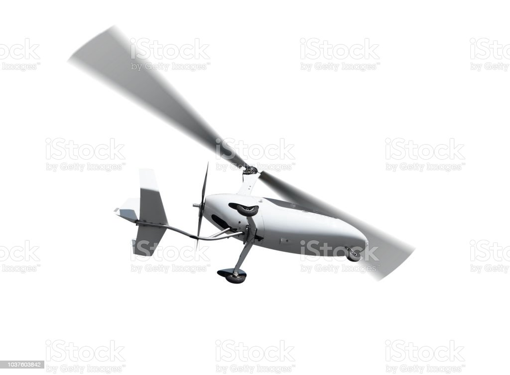 Autogyro In Flight With Rotating Propellers Stock Photo - Download