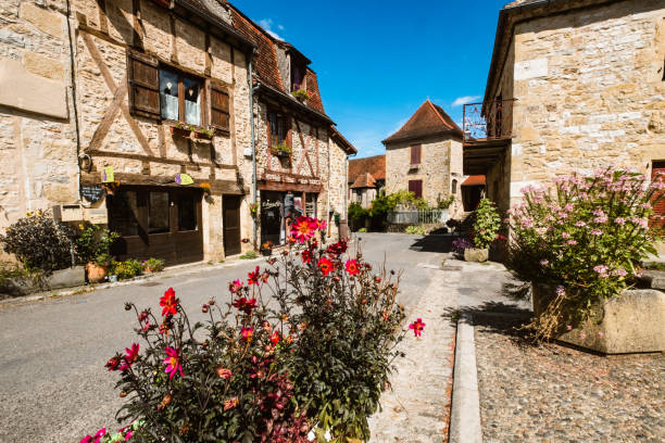 Autoire village, a Beaux Villages de France in the Dordogne region of France stock photo