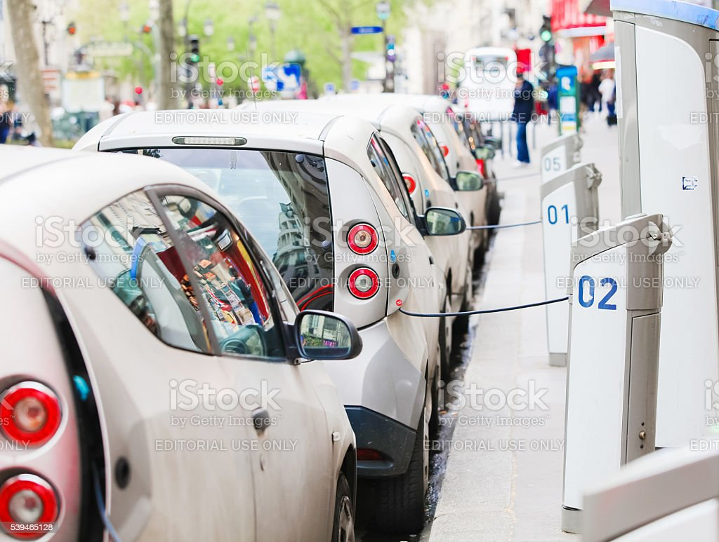 Autolib cars in Paris stock photo