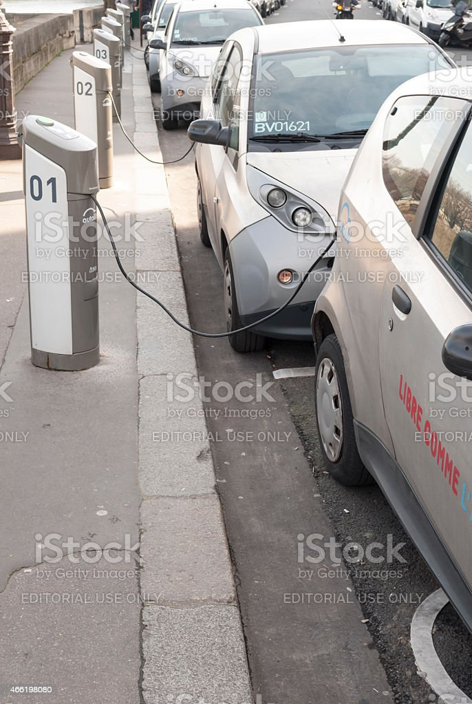 Autolib, electric car sharing service in Paris, France stock photo
