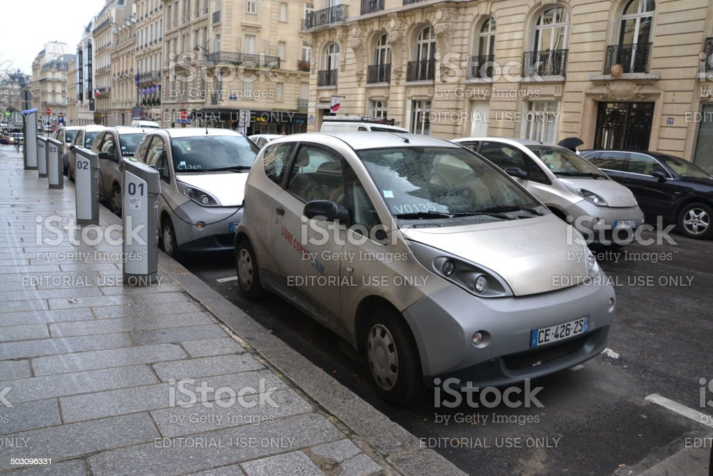 Autolib - network of rental electric cars in Paris stock photo