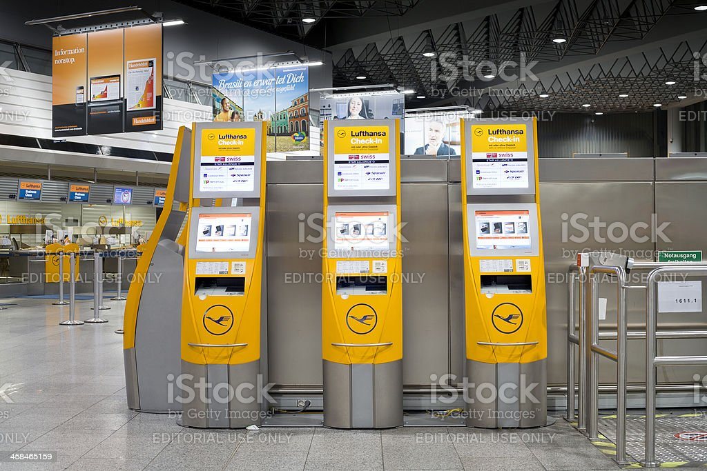 Automated check-in counters of Lufthansa at the airport royalty-free stock photo