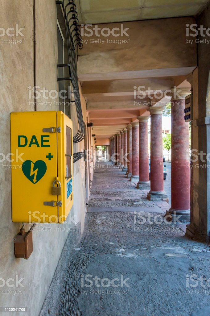 Automated external defibrillator close up stock photo