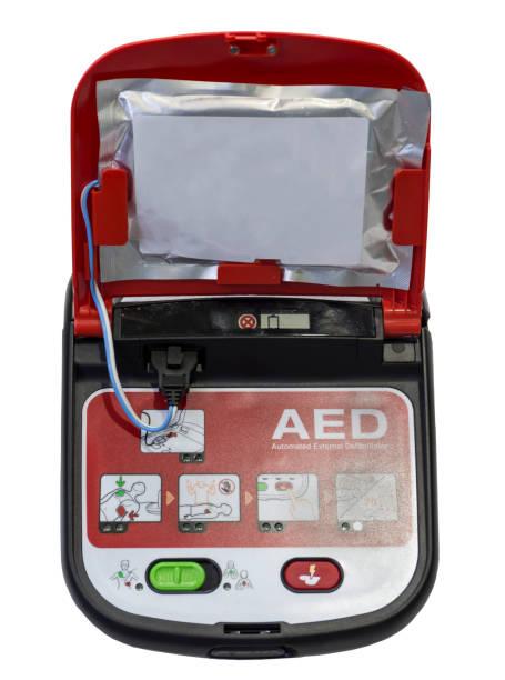 Automatische Externe Defibrillator defibrillator geïsoleerd op wit foto