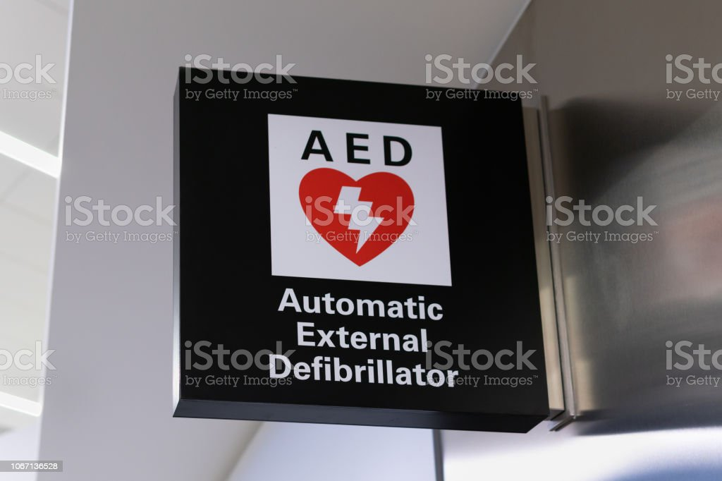 Automated External Defibrillator Sign and Logo stock photo