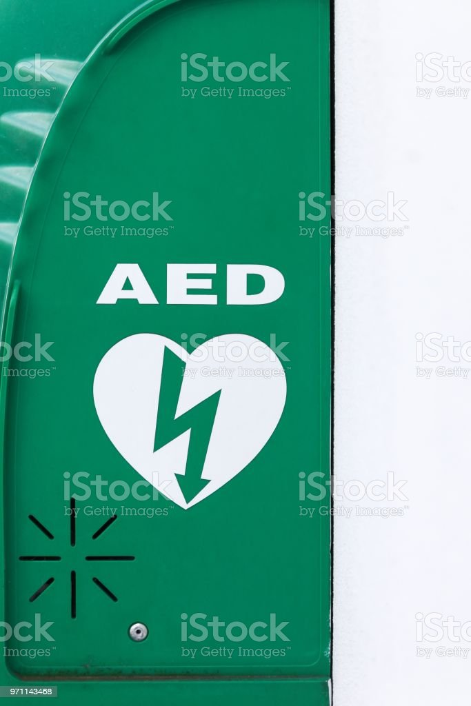 AED, Automated External Defibrillator sign stock photo