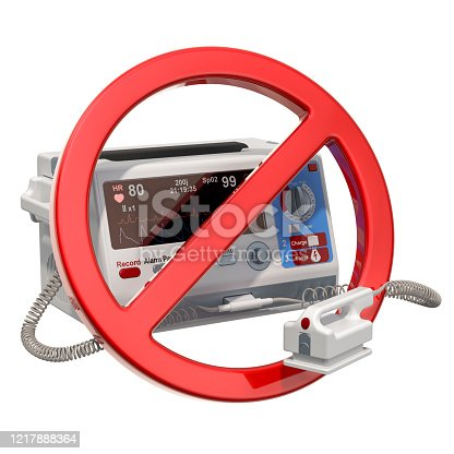 istock Automated external defibrillator with forbidden sign, 3D rendering isolated on white background 1217888364