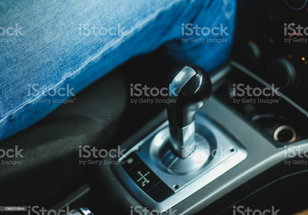 Automated gearbox in the car. Gear lever. stock photo