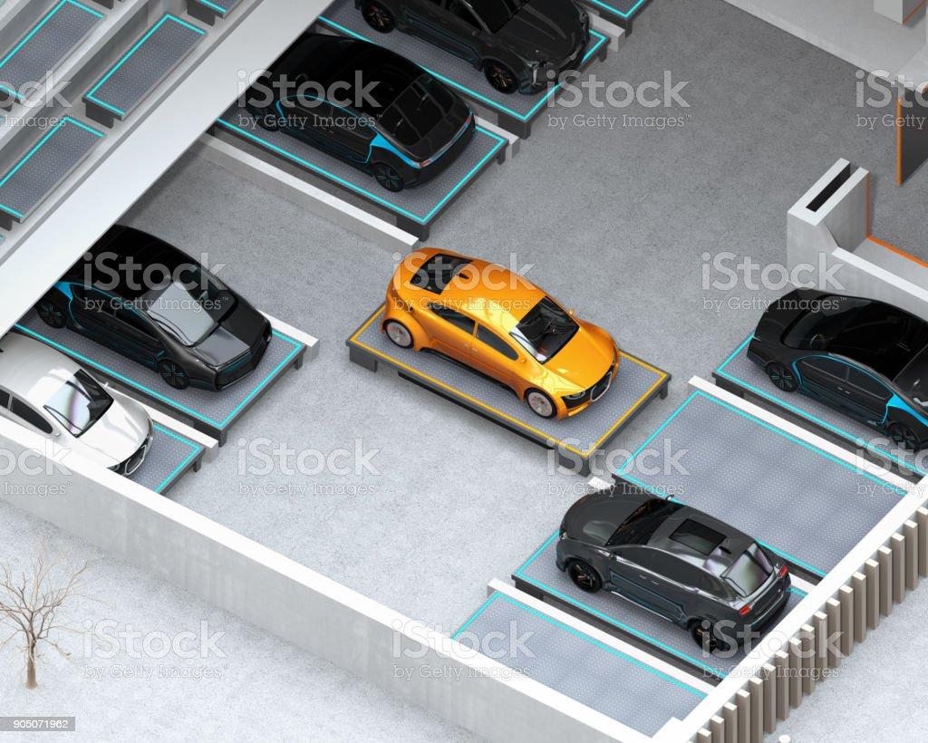 Automatisierte geführte Fahrzeug (AGV) tragen gelbes Auto auf Parkplatz – Foto