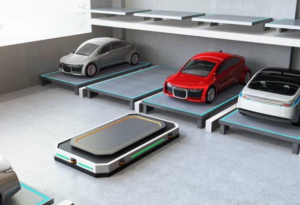 Automatisierte geführte Fahrzeug (AGV) verlassen den Parkplatz zur Ernte nächsten Autos – Foto