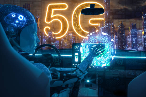 5G Automated Artificial Intelligence technology CITY for backgroundsElectric car automated with big data augmented reality sustainable stock pictures, royalty-free photos & images