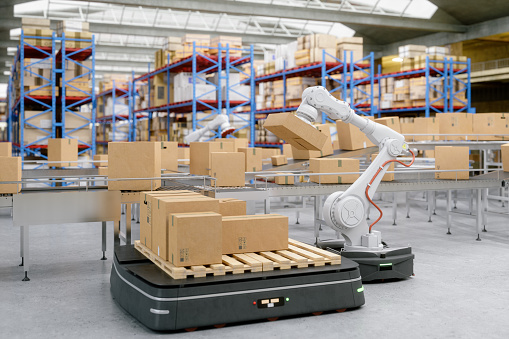 Automation with AGV and robotic arm in modern distribution warehouse.