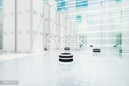 istock Automated robot carriers in futuristic distribution warehouse 1054524274