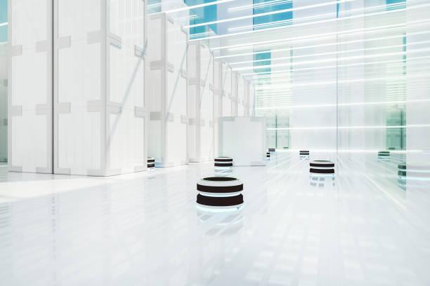 automatiserad robot minibussar i futuristiska distributionslager - delivery robot bildbanksfoton och bilder
