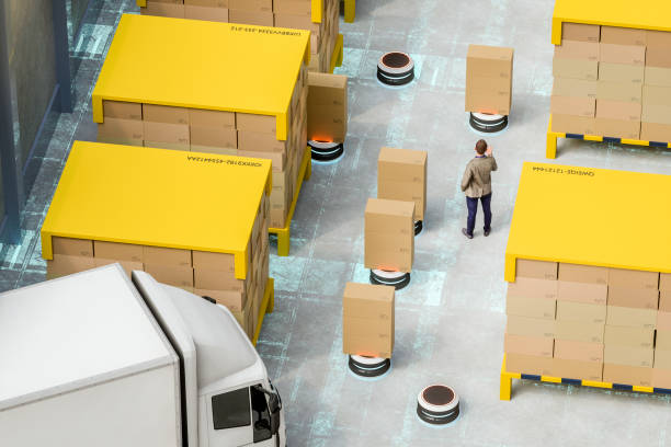 automatiserad robot minibussar i moderna distributionslager - delivery robot bildbanksfoton och bilder