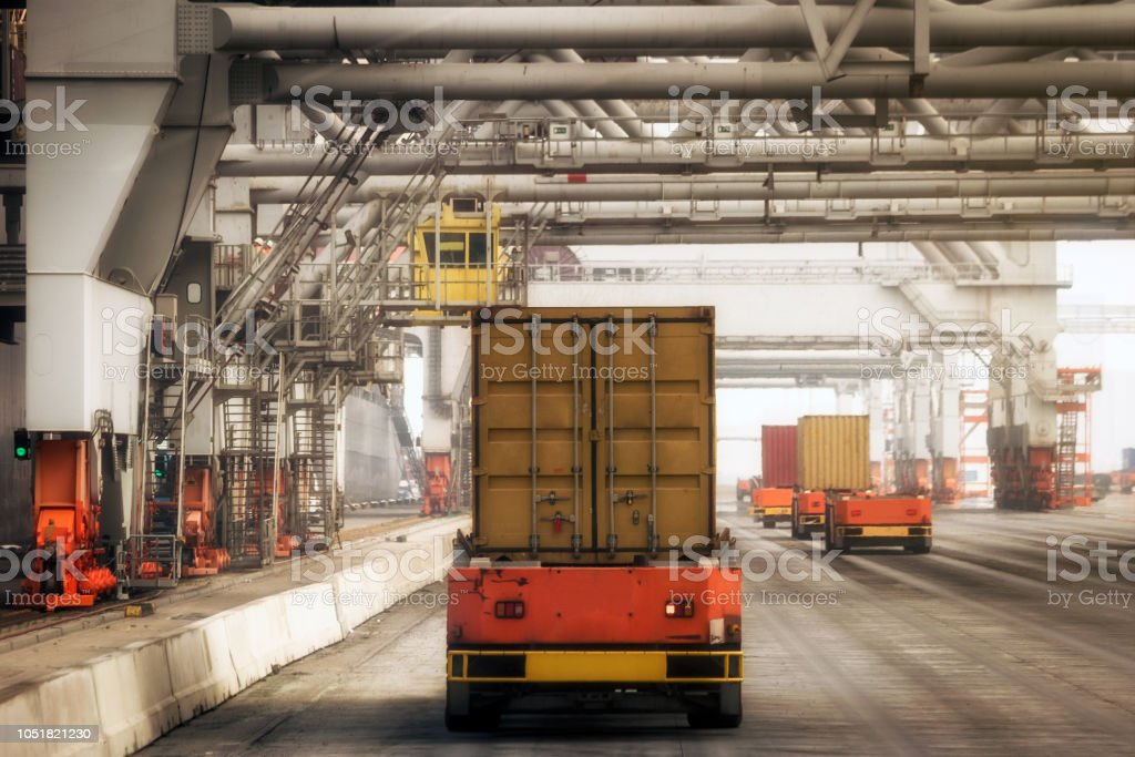Shipping Container-Hafen terminal automatisiert – Foto