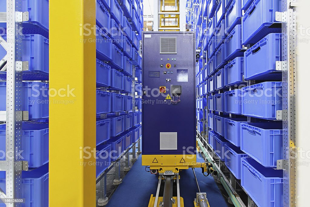 Automated storage warehouse stock photo