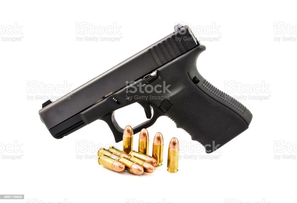 Automatic 9 m.m handgun pistol with bullet 9 m.m stock photo