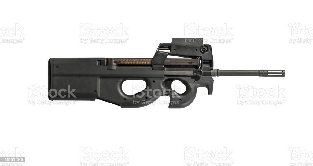 Automatic Assault Rifle Isolated on White Background Right royalty-free stock photo