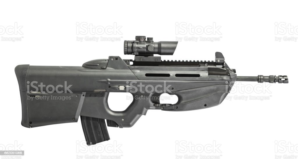 Automatic Assault Rifle With Scope Isolated on White Background Right stock photo