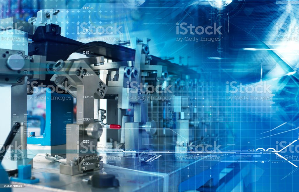 Automatic assembly technology stock photo
