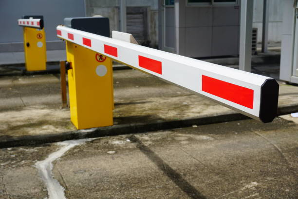 Automatic barrier for home village security system stock photo