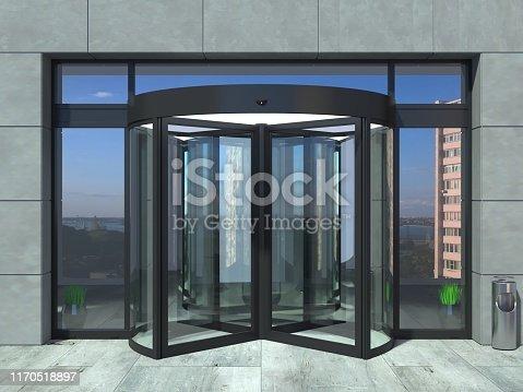 istock Automatic black rotating doors office 1170518897