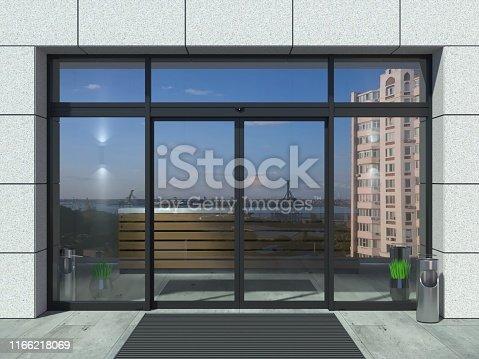 istock Automatic black sliding doors office 1166218069